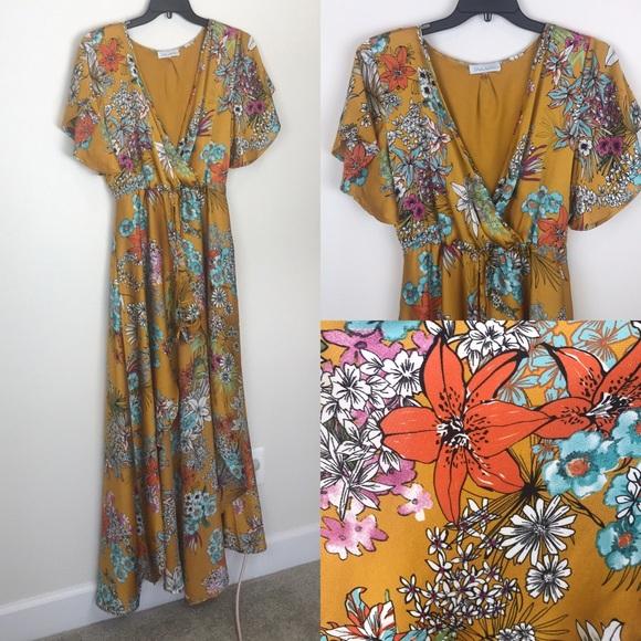 14bd76434ab Paradise Romper Shorts Dress Mustard Floral L. M 5bf034f3409c1571bd5ebdbc
